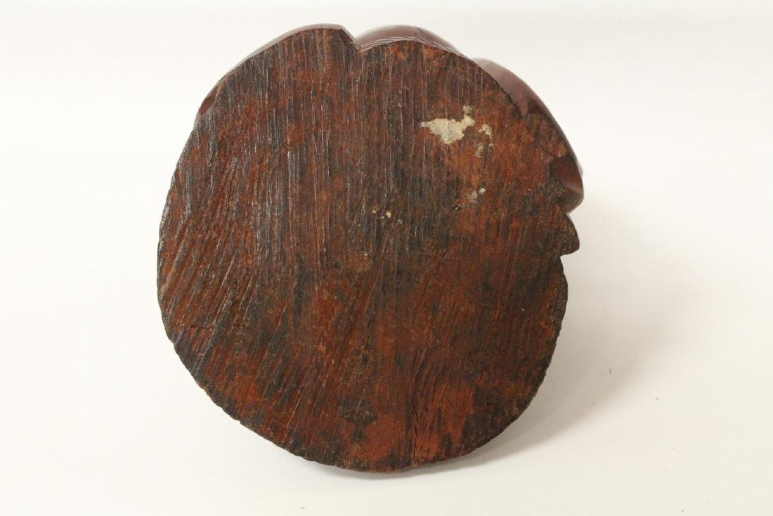 Chinese vintage rosewood carved seated Buddha - 9