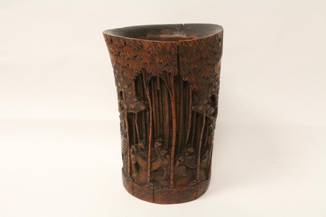Vintage Chinese bamboo brush holder