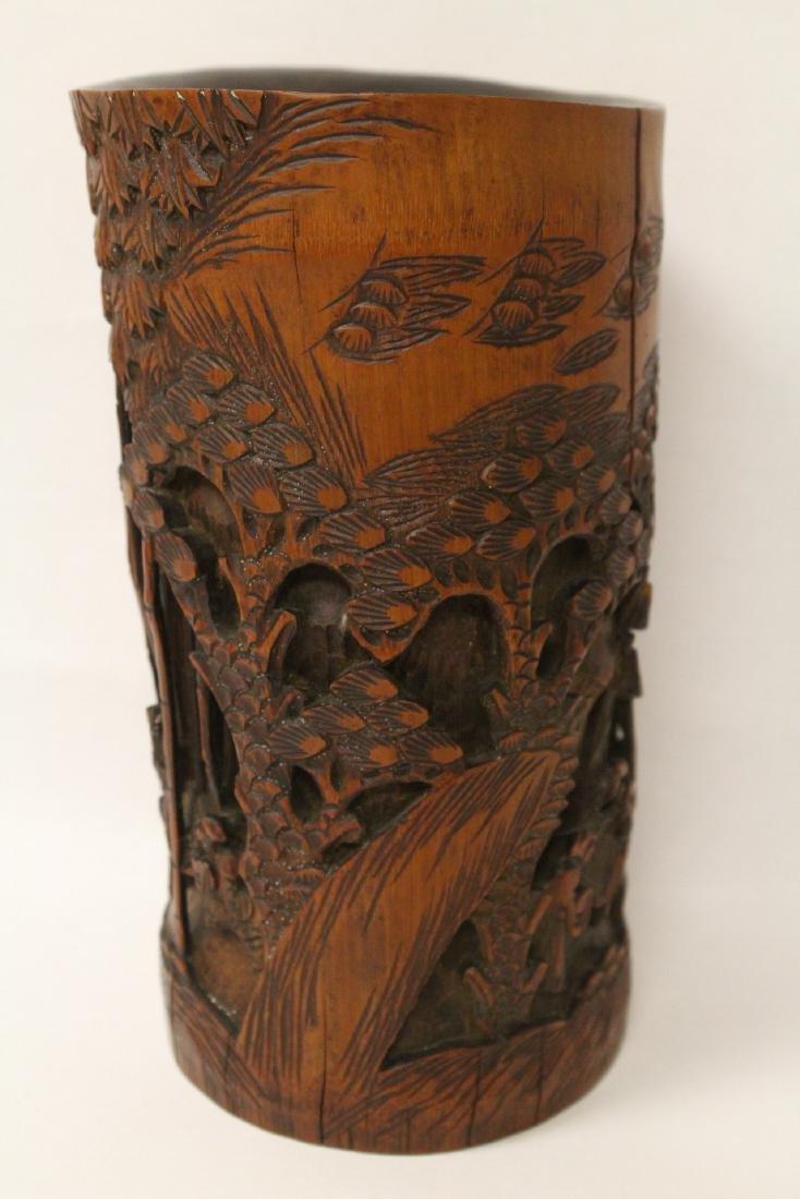 Vintage Chinese bamboo brush holder - 2