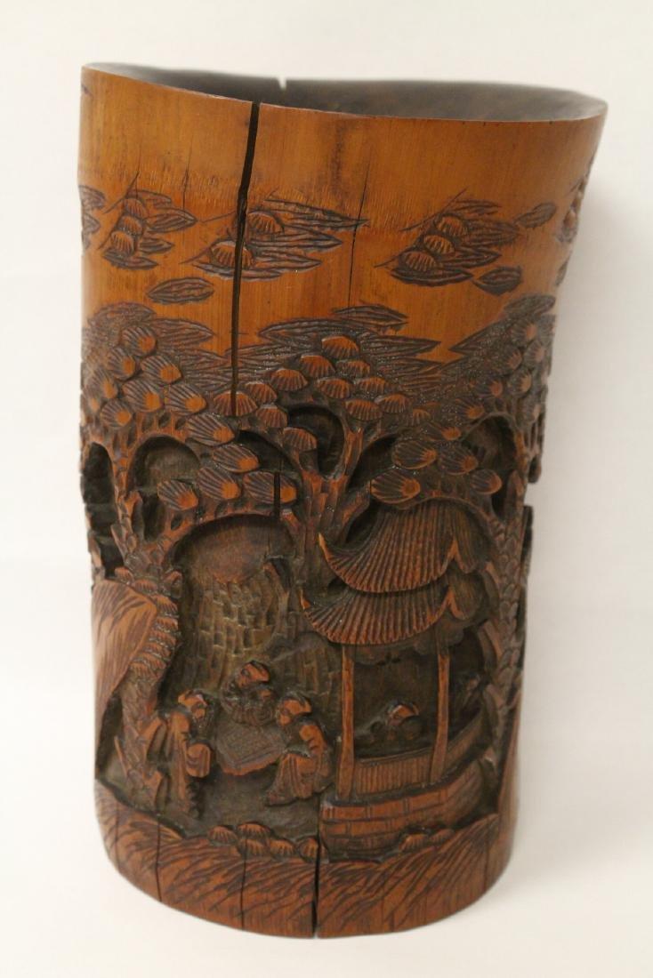 Vintage Chinese bamboo brush holder - 3