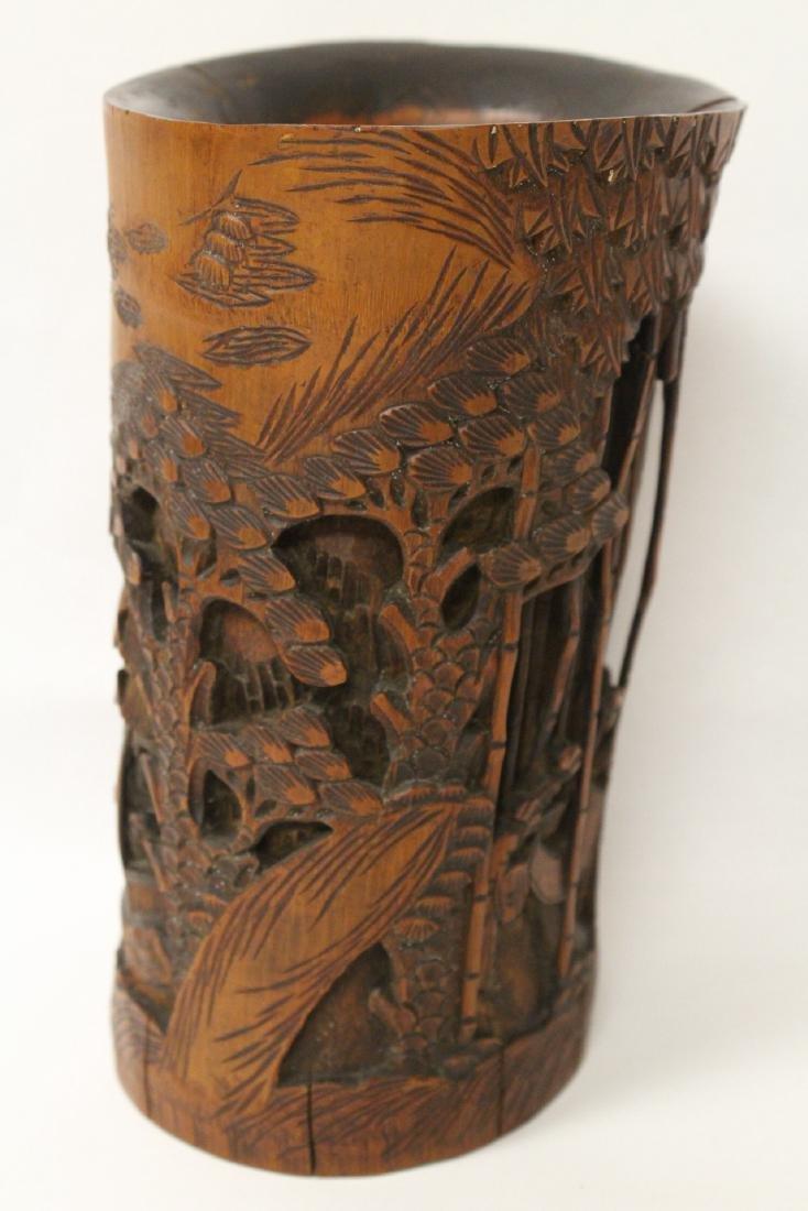 Vintage Chinese bamboo brush holder - 4