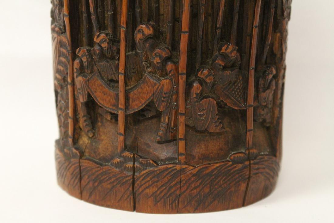 Vintage Chinese bamboo brush holder - 5