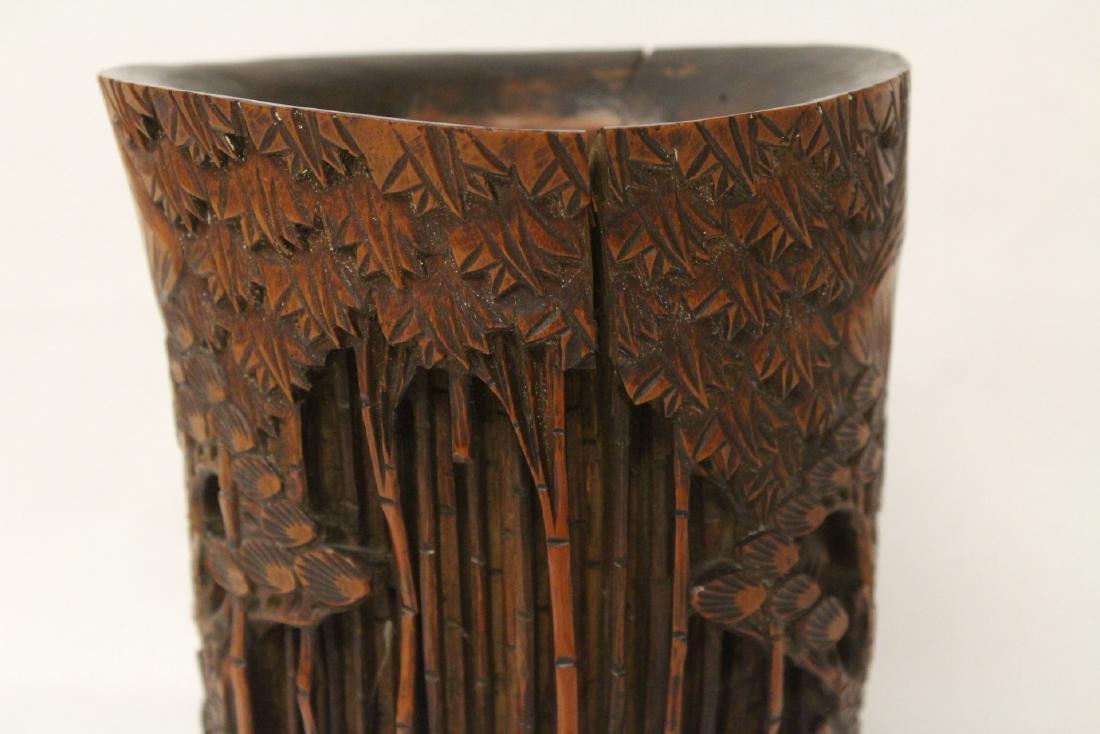 Vintage Chinese bamboo brush holder - 6