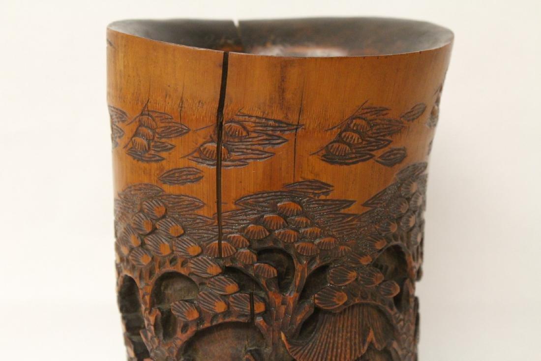 Vintage Chinese bamboo brush holder - 8