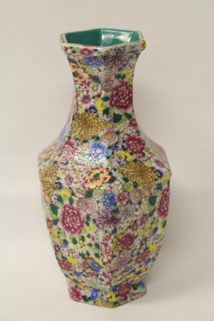 Chinese famille rose porcelain hexagonal vase