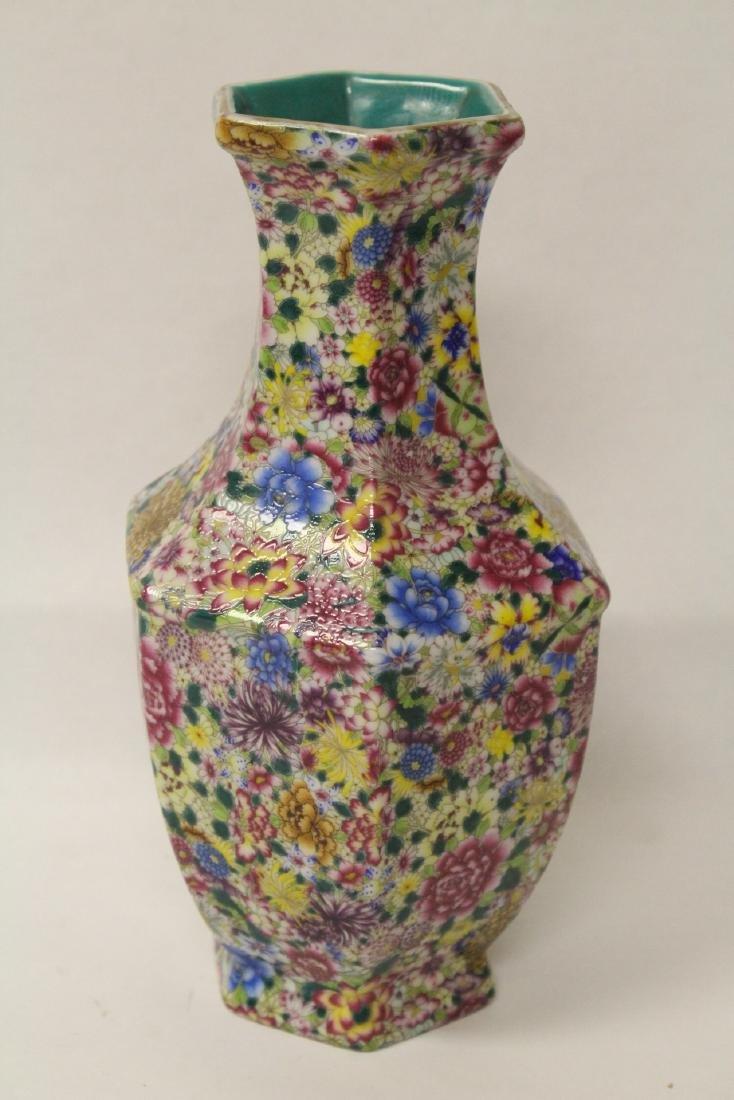 Chinese famille rose porcelain hexagonal vase - 2