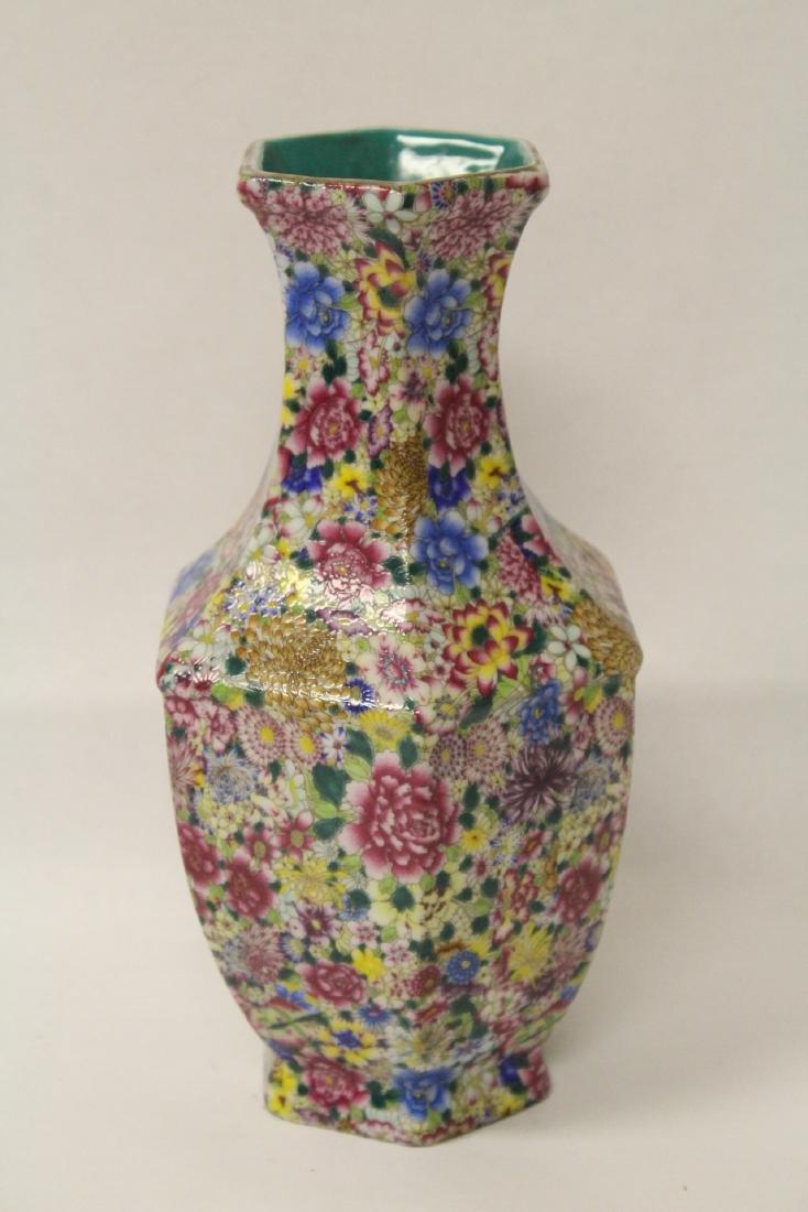 Chinese famille rose porcelain hexagonal vase - 3