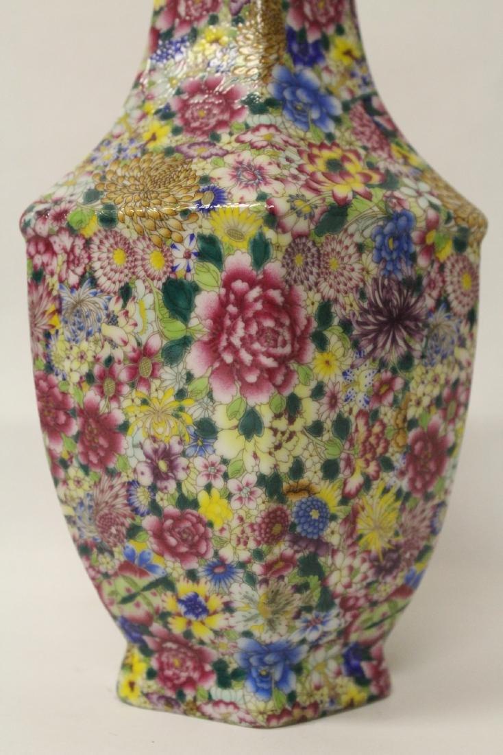 Chinese famille rose porcelain hexagonal vase - 4