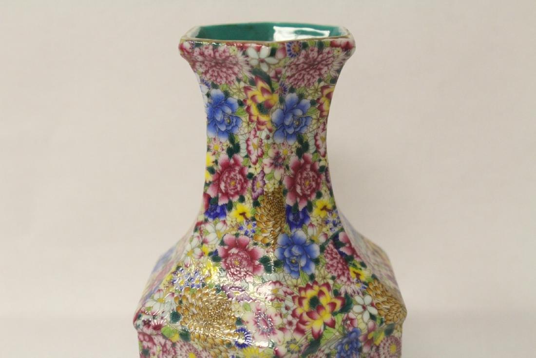 Chinese famille rose porcelain hexagonal vase - 5