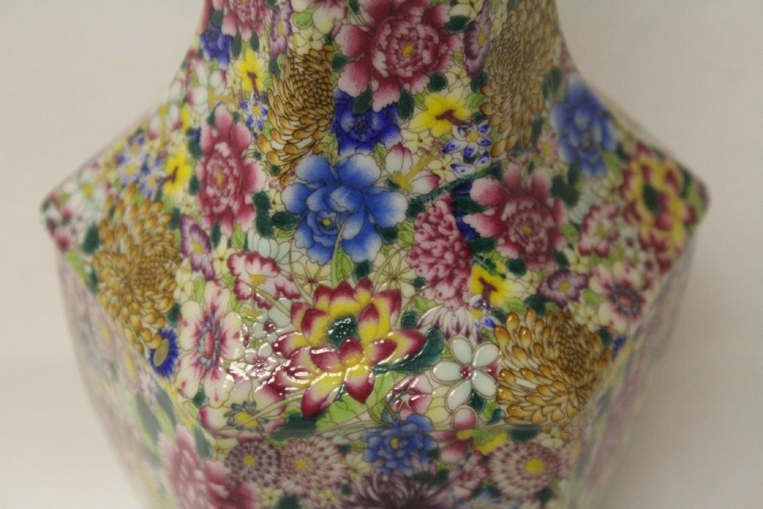 Chinese famille rose porcelain hexagonal vase - 6