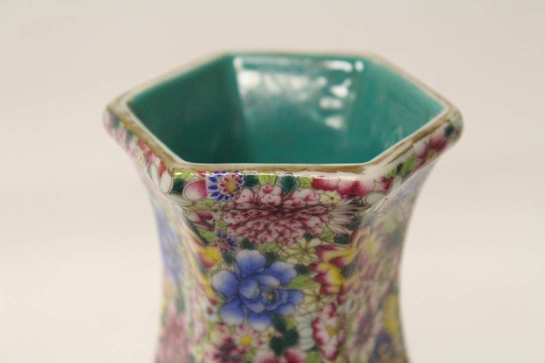 Chinese famille rose porcelain hexagonal vase - 7
