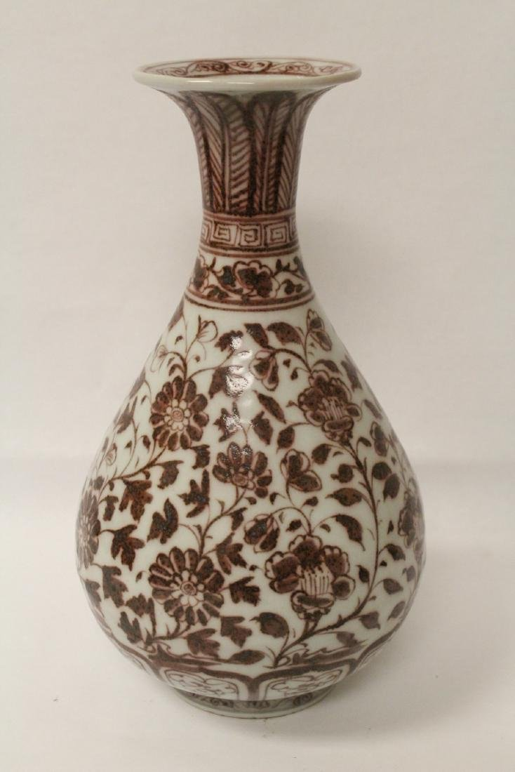 Chinese red and white porcelain bottle vase - 10