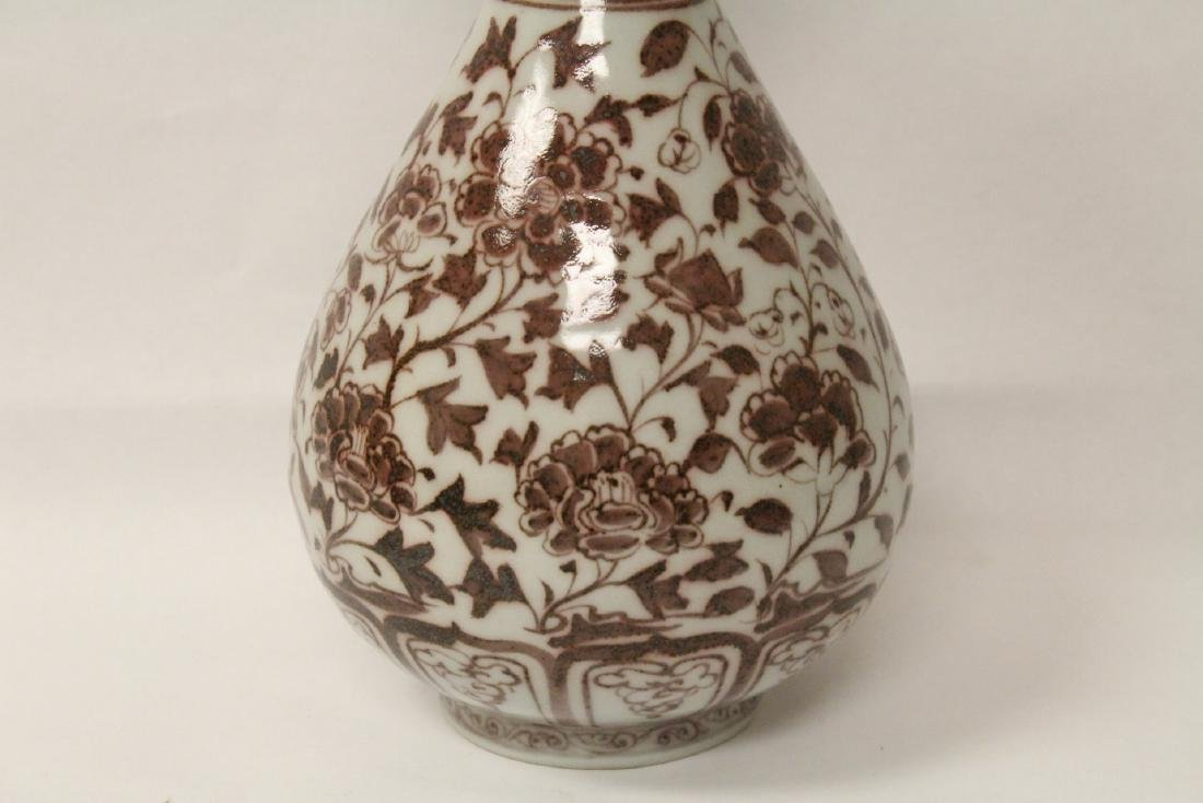 Chinese red and white porcelain bottle vase - 3