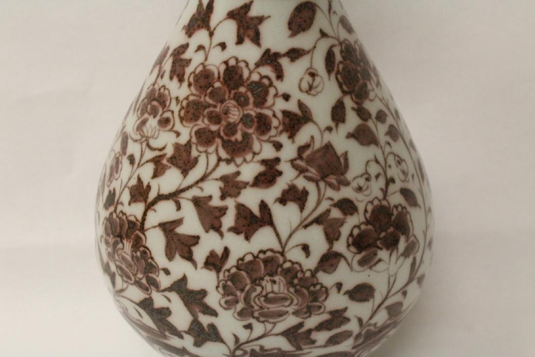 Chinese red and white porcelain bottle vase - 6