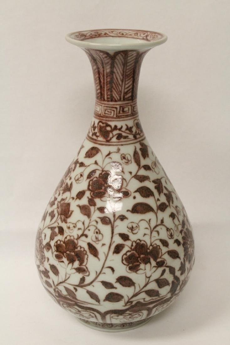 Chinese red and white porcelain bottle vase - 8
