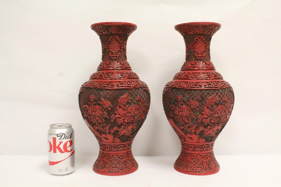 Pair Chinese cinnabar vases
