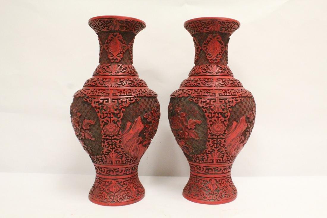 Pair Chinese cinnabar vases - 2
