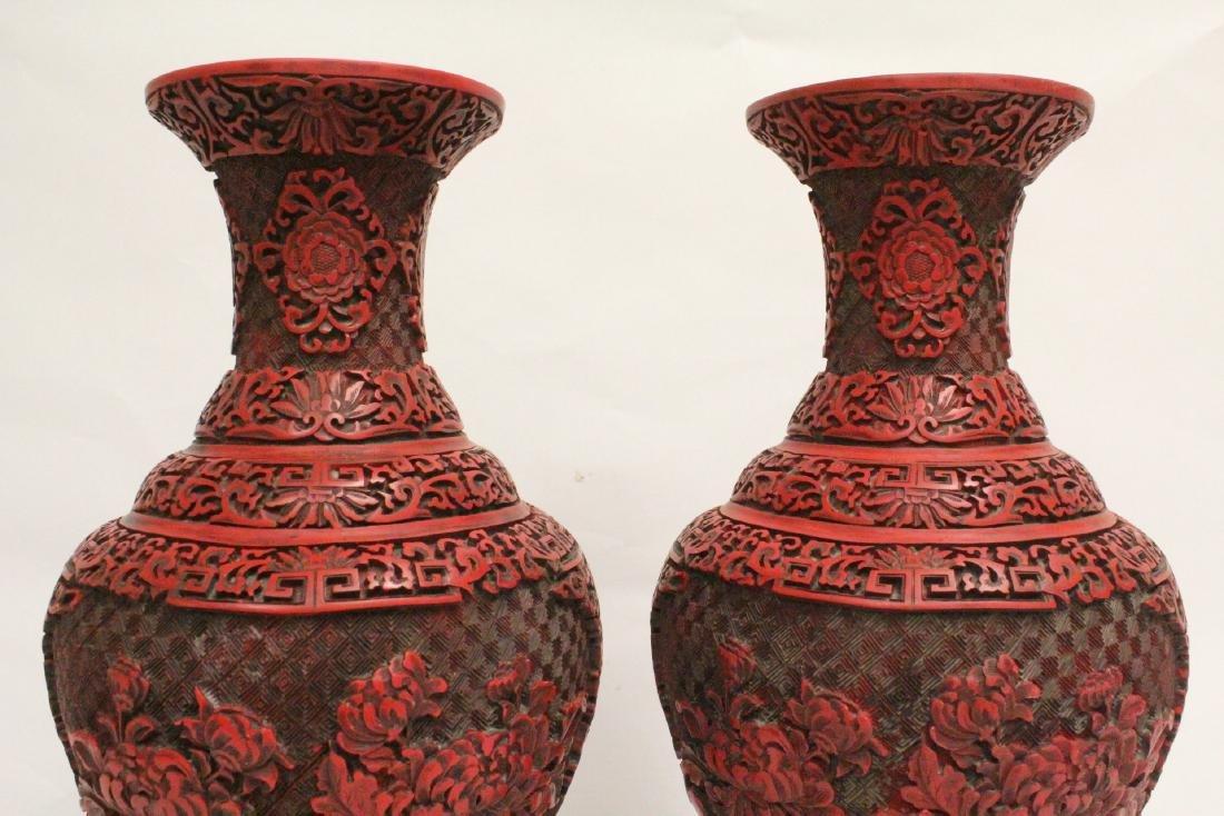 Pair Chinese cinnabar vases - 6