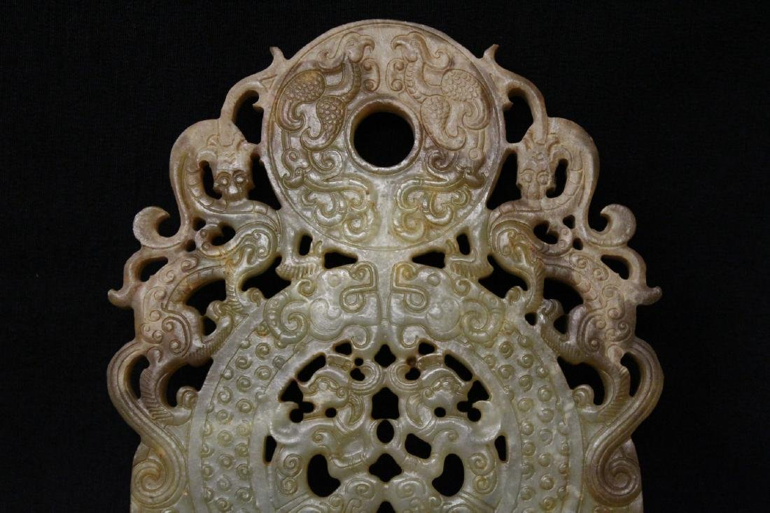 Large Chinese jade carved pei - 3