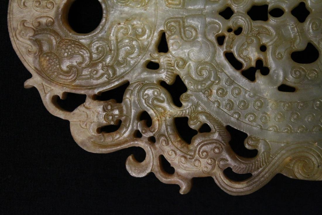 Large Chinese jade carved pei - 7