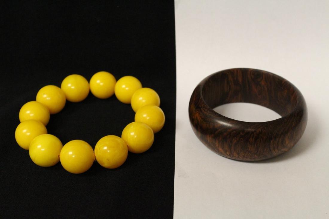 Chinese wood bangle bracelet, and bead bracelet