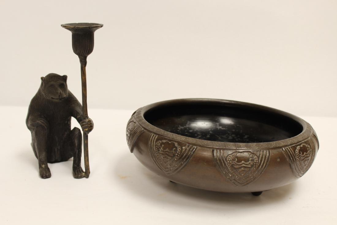 Japanese pottery brush wash & a bronze candle holder - 10
