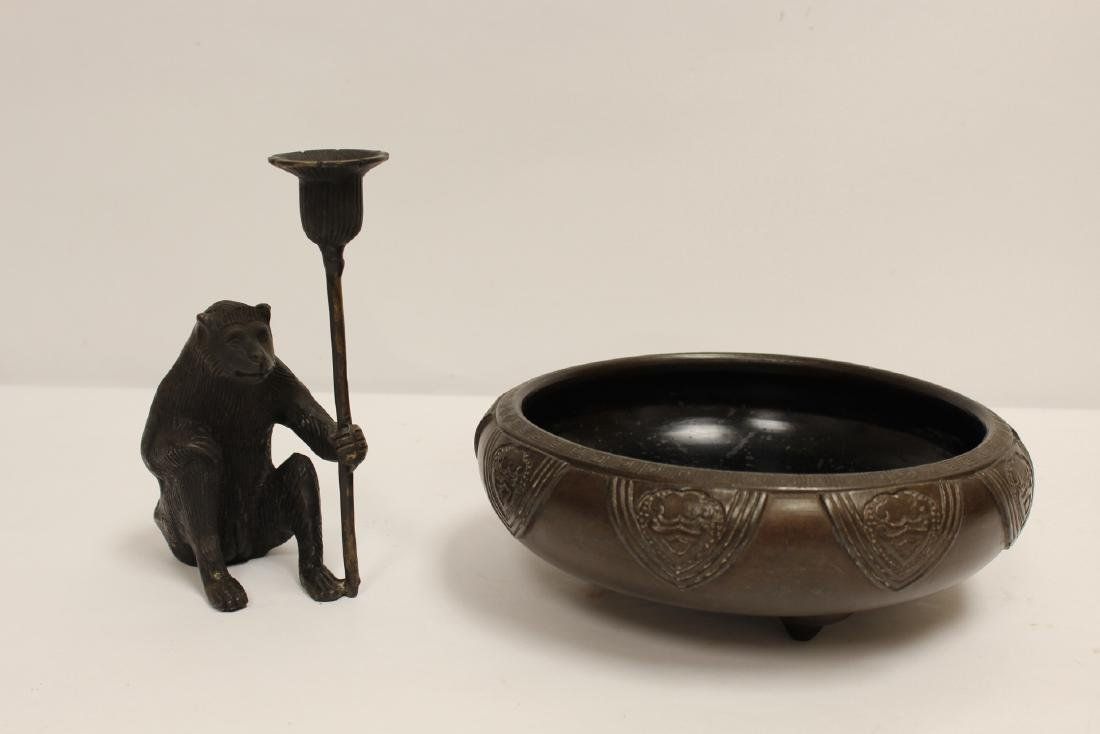 Japanese pottery brush wash & a bronze candle holder