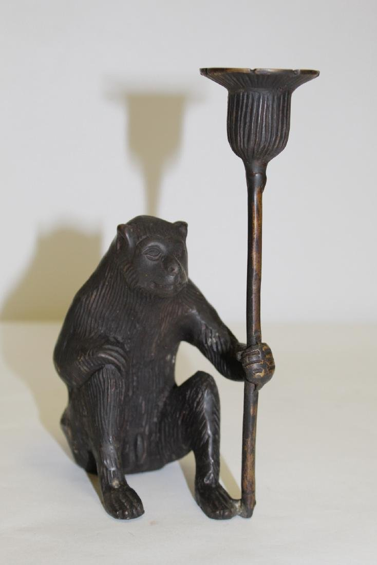 Japanese pottery brush wash & a bronze candle holder - 2