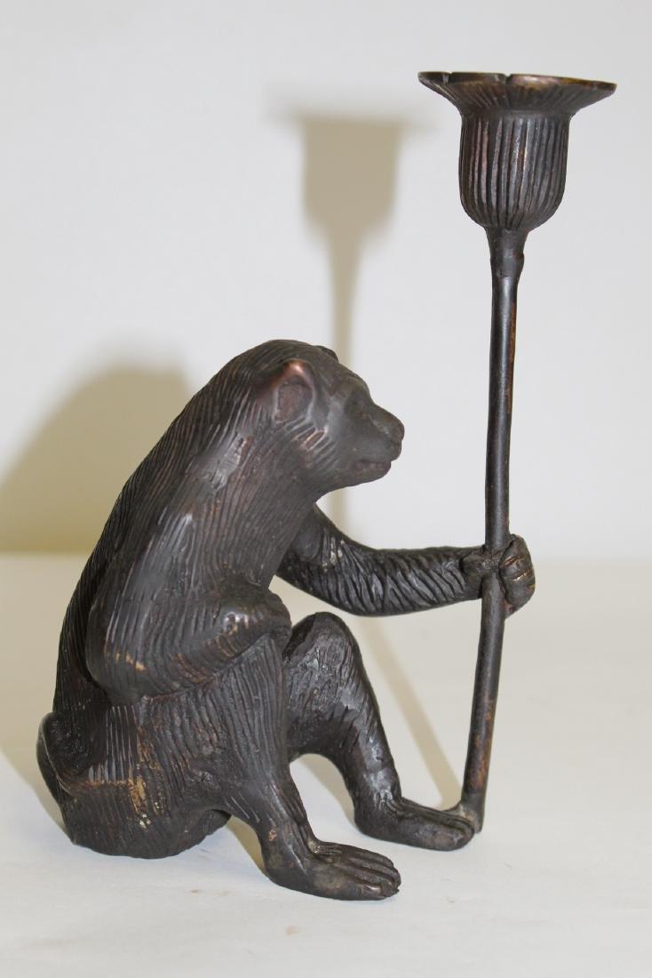 Japanese pottery brush wash & a bronze candle holder - 4