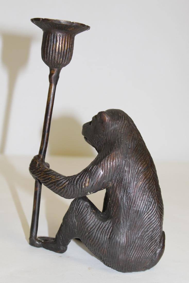 Japanese pottery brush wash & a bronze candle holder - 5