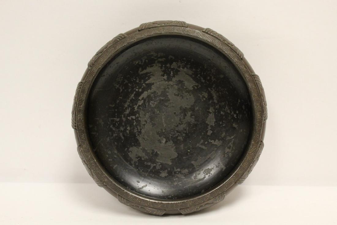 Japanese pottery brush wash & a bronze candle holder - 8
