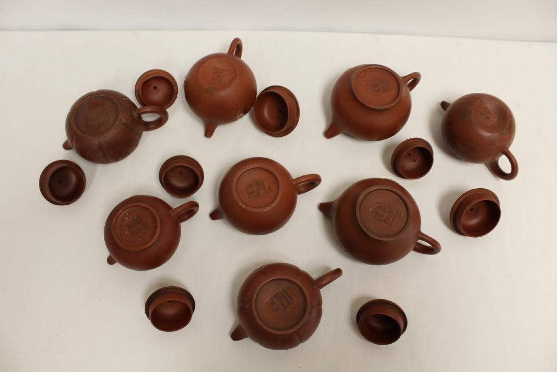 8 Yixing teapots - 4