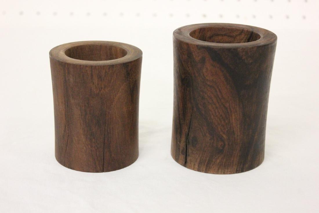 2 Chinese wood carved brush holder