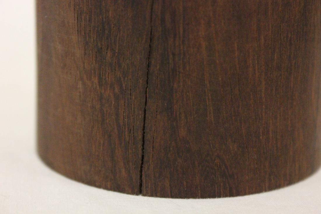 2 Chinese wood carved brush holder - 6