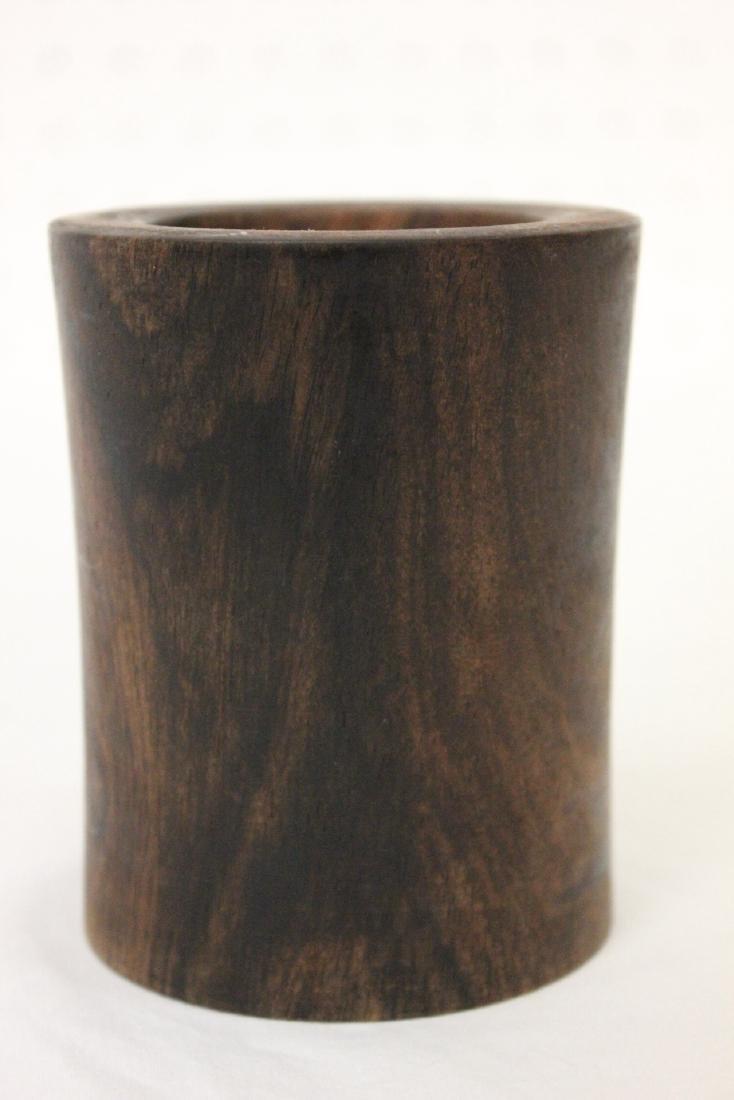 2 Chinese wood carved brush holder - 8