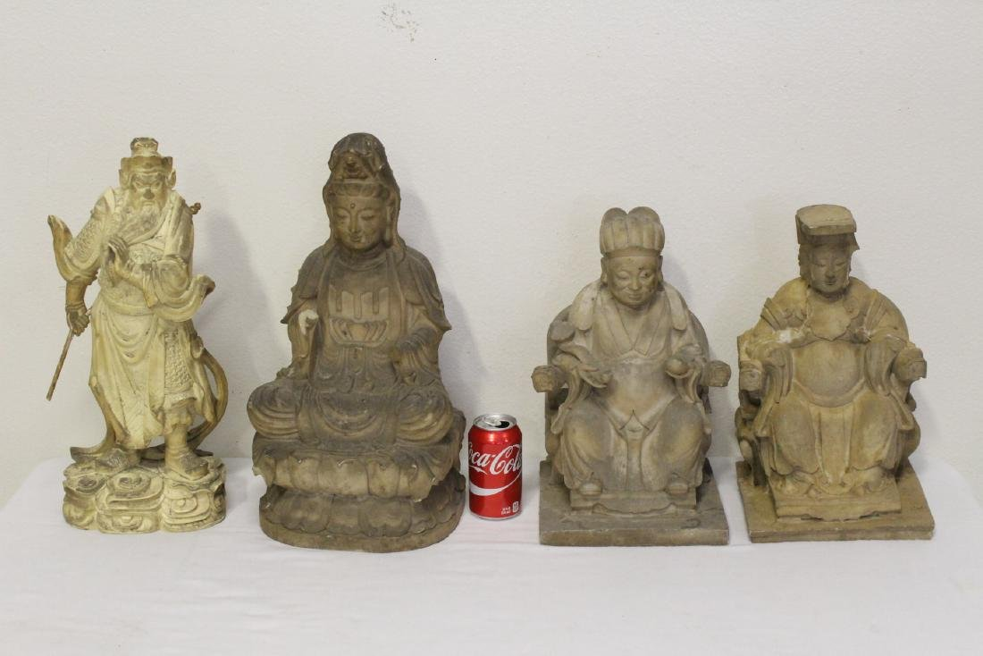 "4 large ""casted"" Buddha statue"