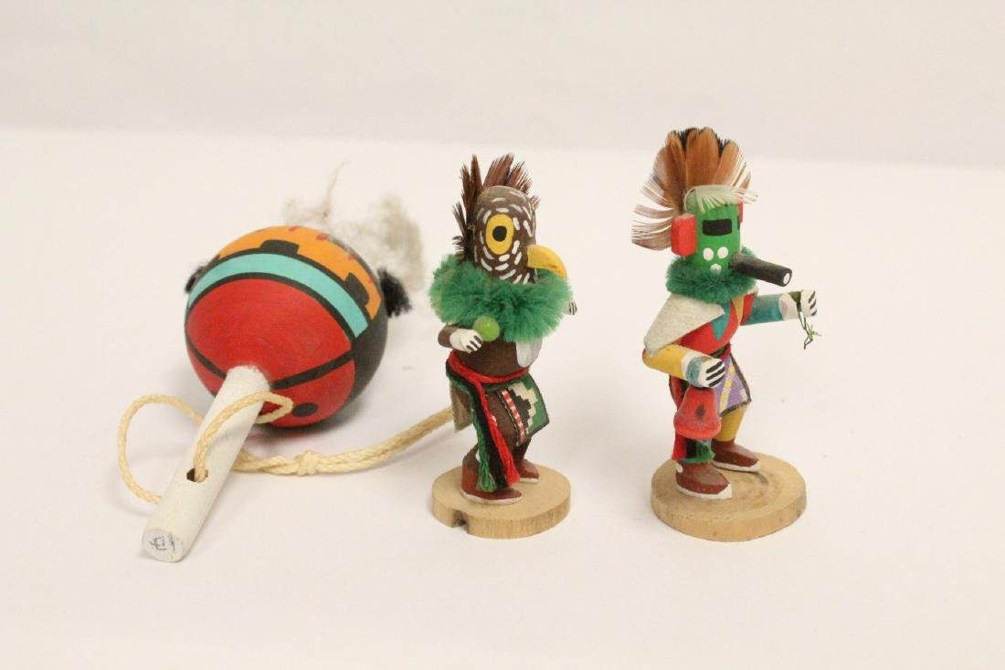 8 miniature Kachina dolls, and a painted Indian toy - 10