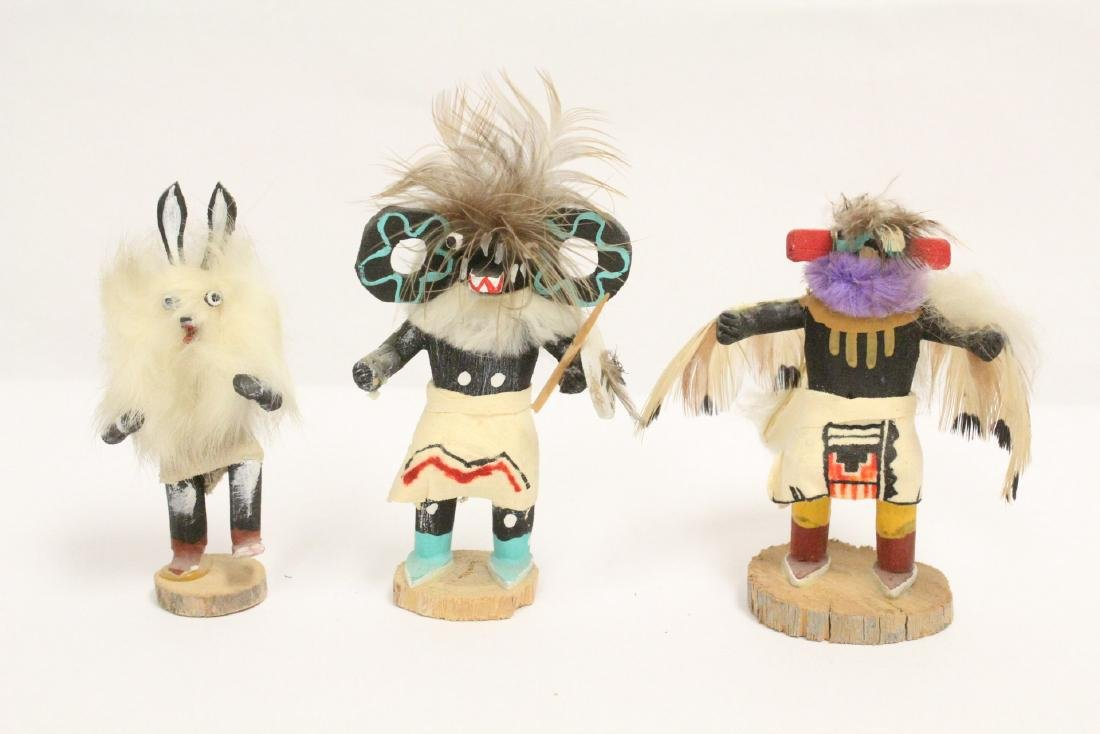 8 miniature Kachina dolls, and a painted Indian toy - 2