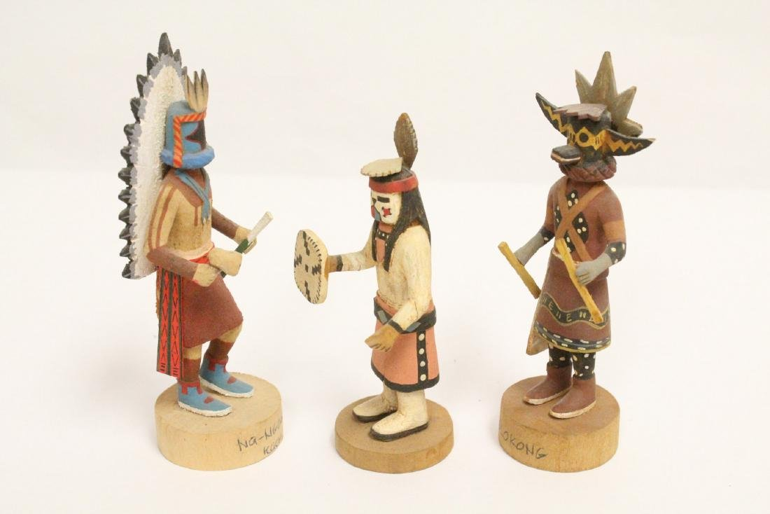 8 miniature Kachina dolls, and a painted Indian toy - 6