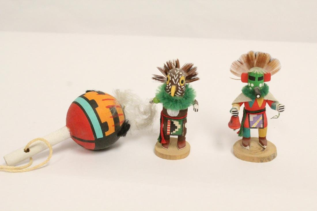 8 miniature Kachina dolls, and a painted Indian toy - 8