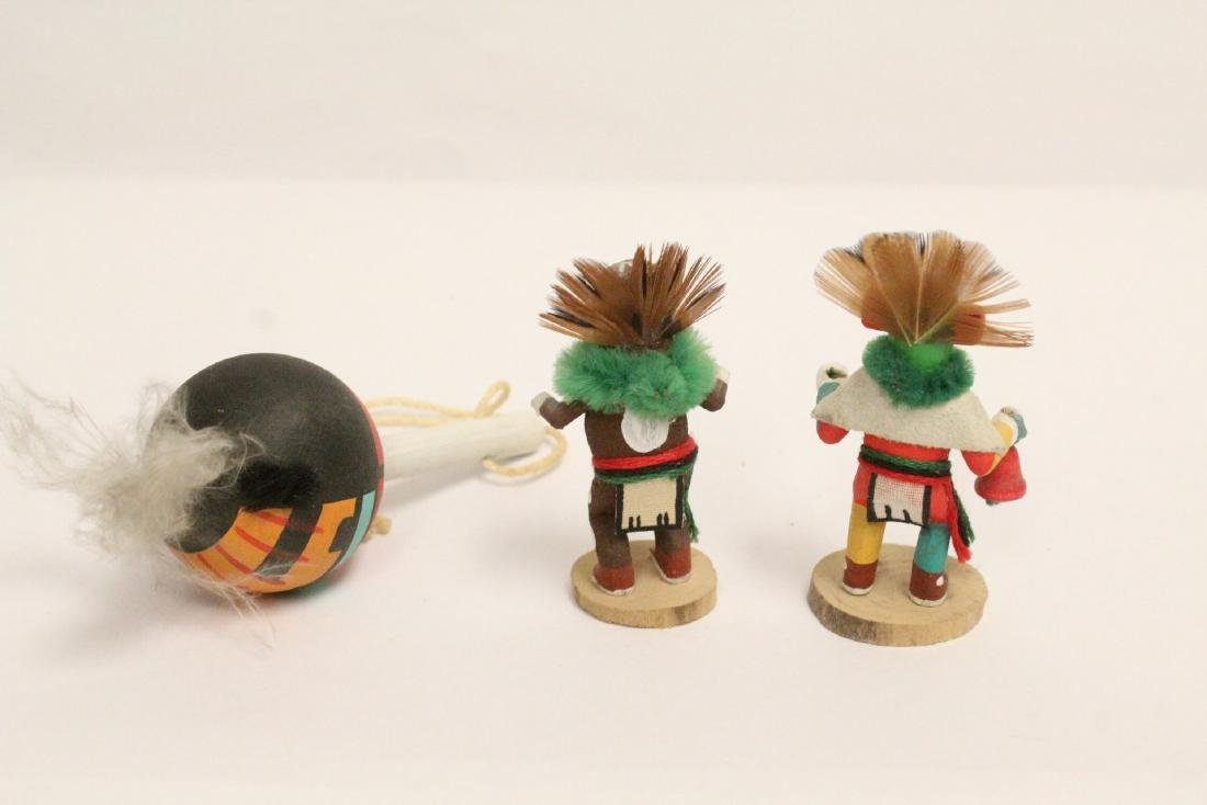 8 miniature Kachina dolls, and a painted Indian toy - 9
