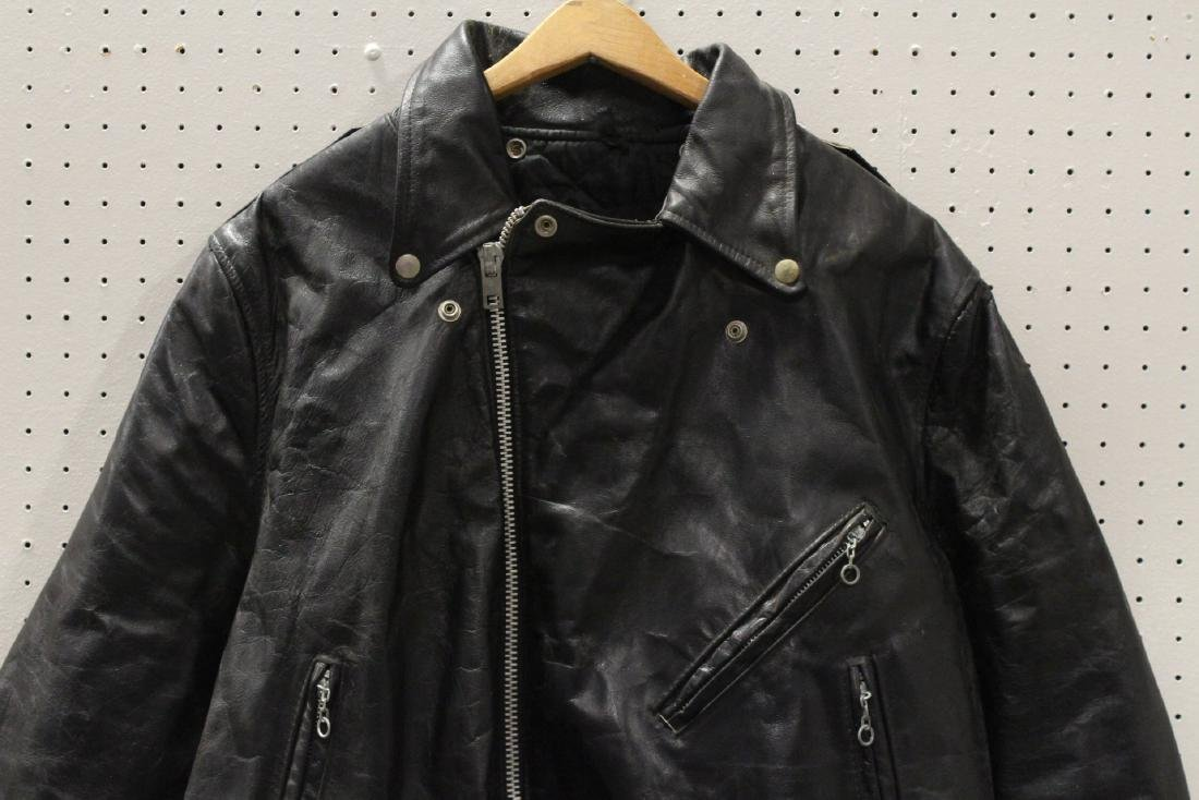 An early Harley Davidson leather jacket with belt - 2
