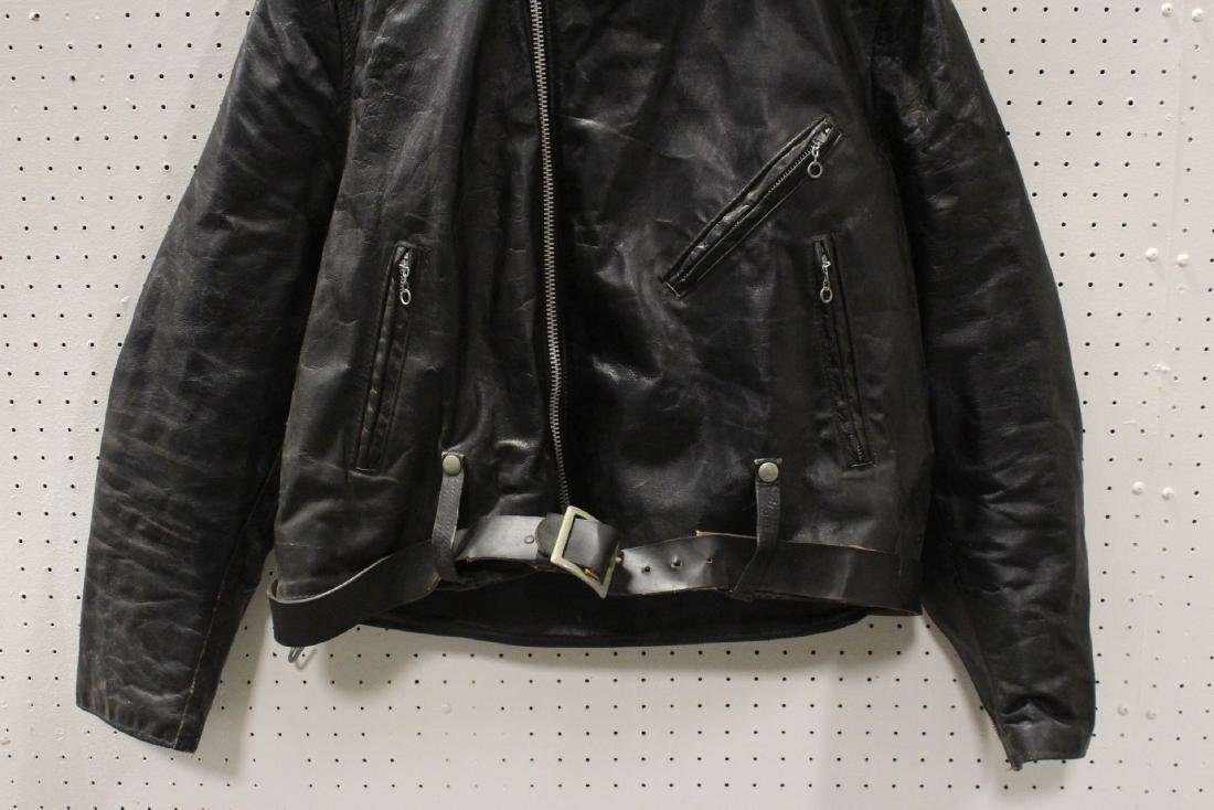 An early Harley Davidson leather jacket with belt - 3