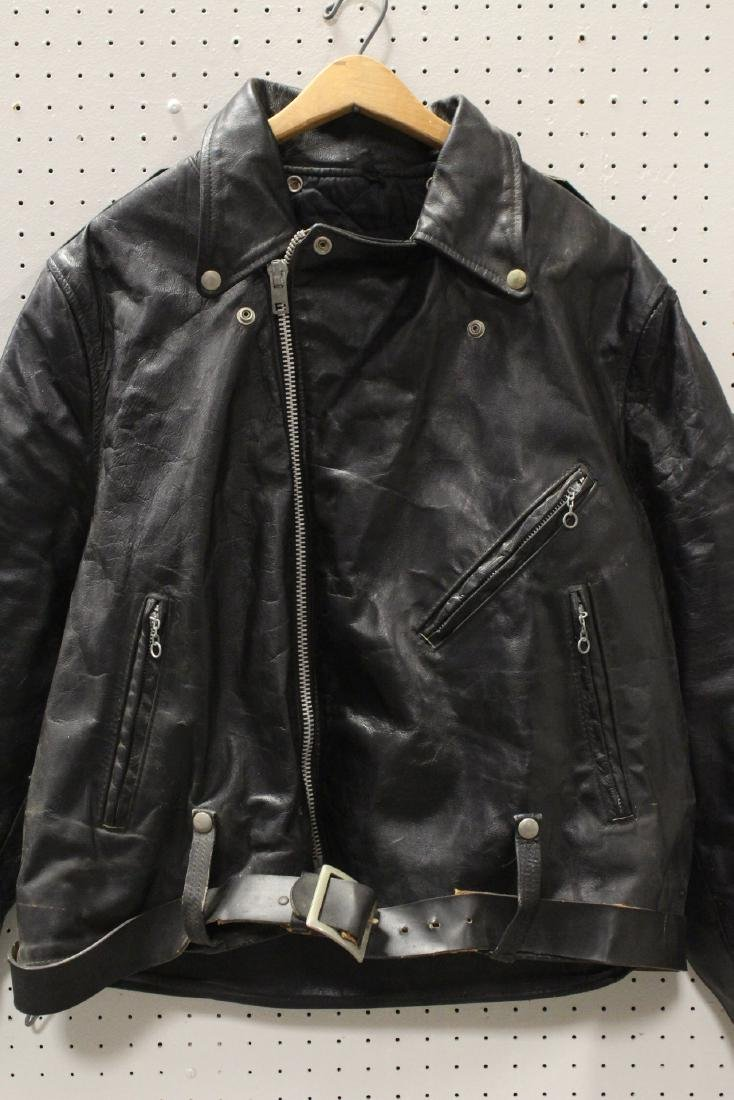 An early Harley Davidson leather jacket with belt - 4