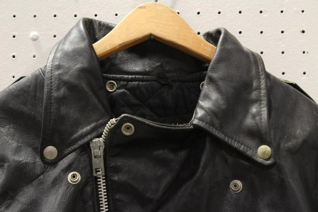 An early Harley Davidson leather jacket with belt - 5