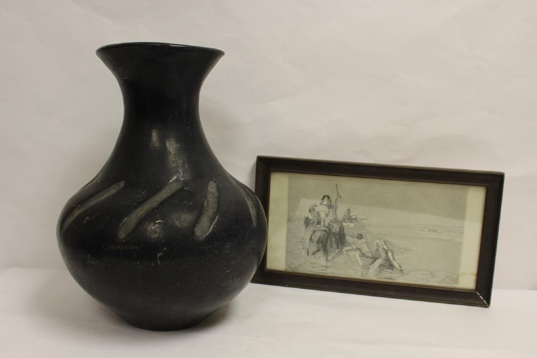 A large Indian pottery vase&, and a framed print