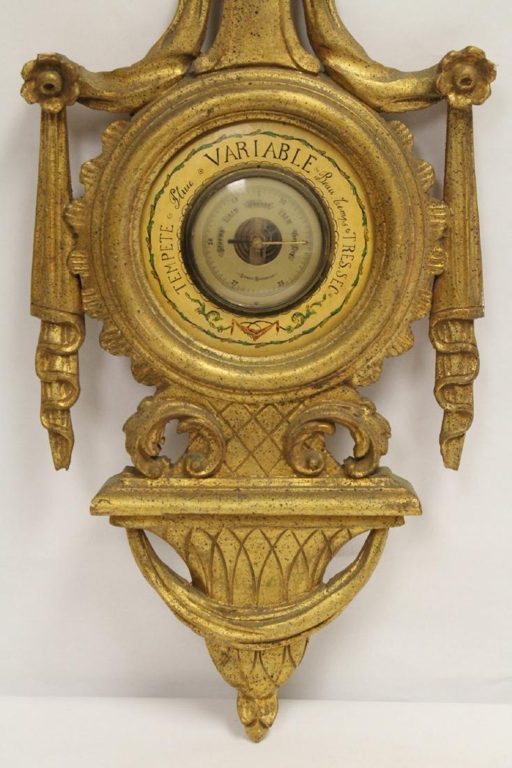 Italian gilt wood wall hanging barometer - 2