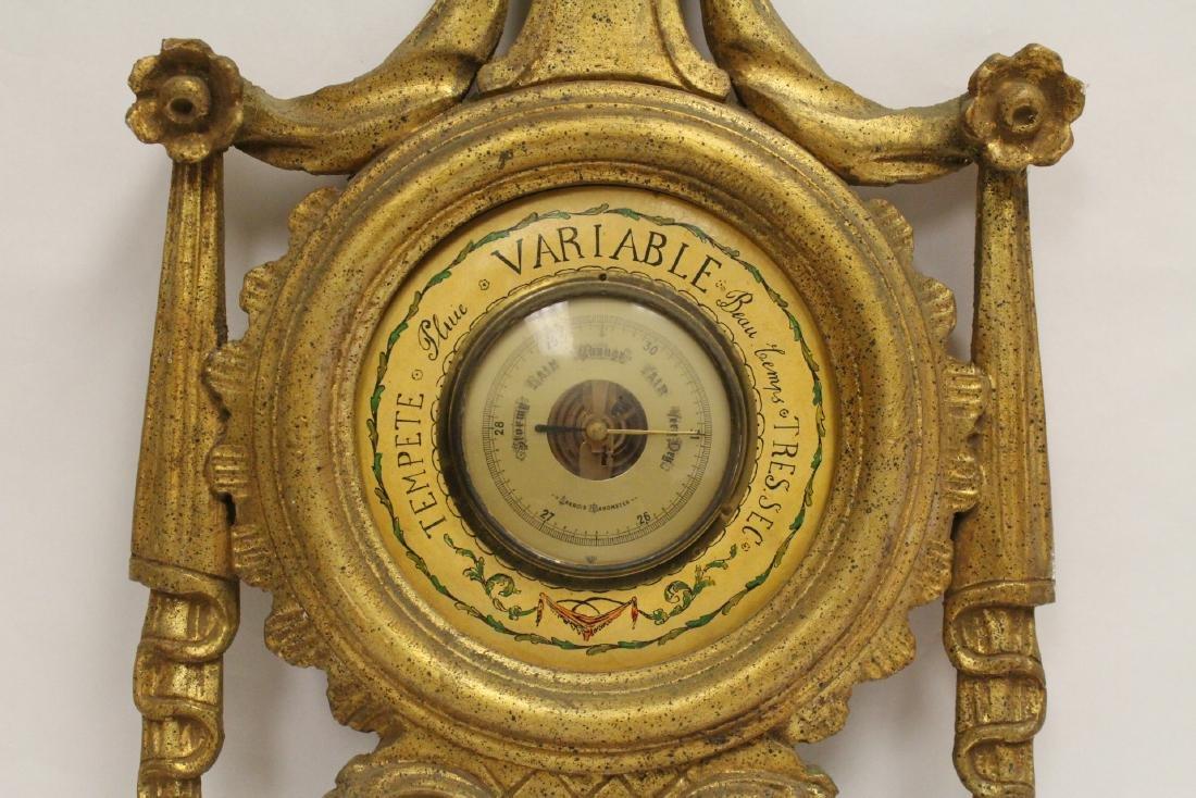 Italian gilt wood wall hanging barometer - 5