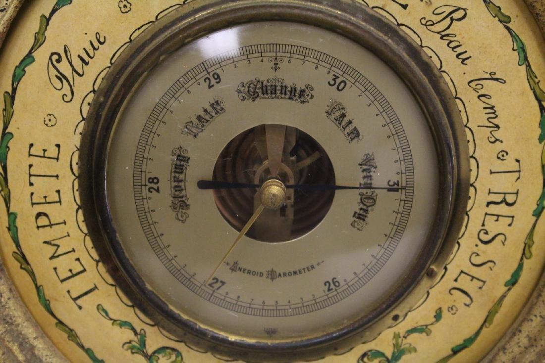 Italian gilt wood wall hanging barometer - 9
