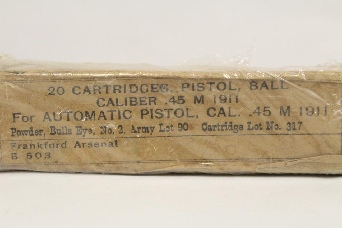 Box of WWI 0.45 caliber ammunition, dated 1911 - 2